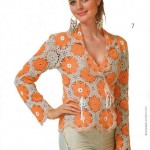 çeket yakalı çiçek desenil örgü bayan bluz modeli