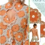 çeket yakalı çiçek desenil örgü bayan bluz modelleri