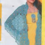 üçgen turkuaz mavisi örgü bayan şal örneği