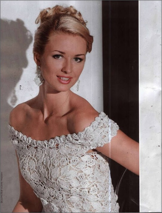 beyaz simli örgü elbise modeli