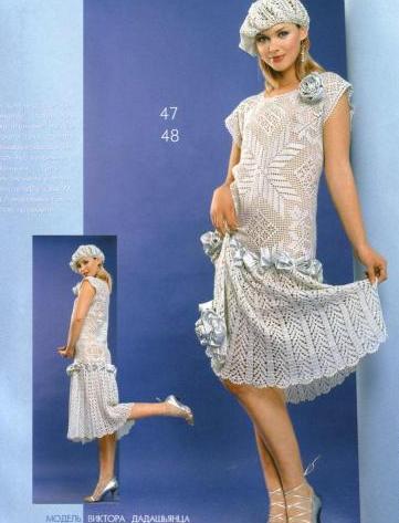 dantel modelleri ile örülmüş diz altı elbise modeli