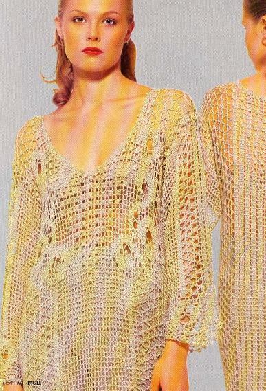 geniş v yakalı file modelli uzun kol elbise modeli
