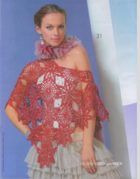 kırmızı yıldız desenli bayan şal modeli