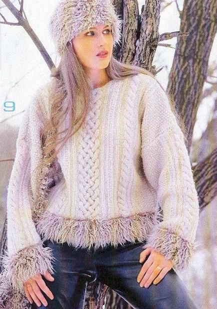kol ve etek uçları sakallı ip ile örülen kazak