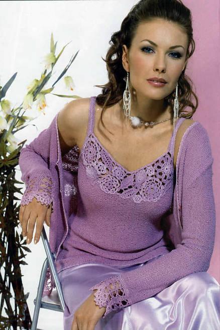 lila renkli düz örnekli hırka bluz takımı