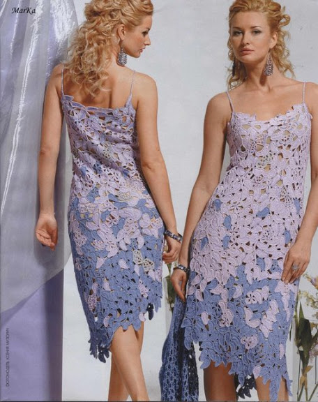 motifli ip askılı örgü bayan elbise modeli