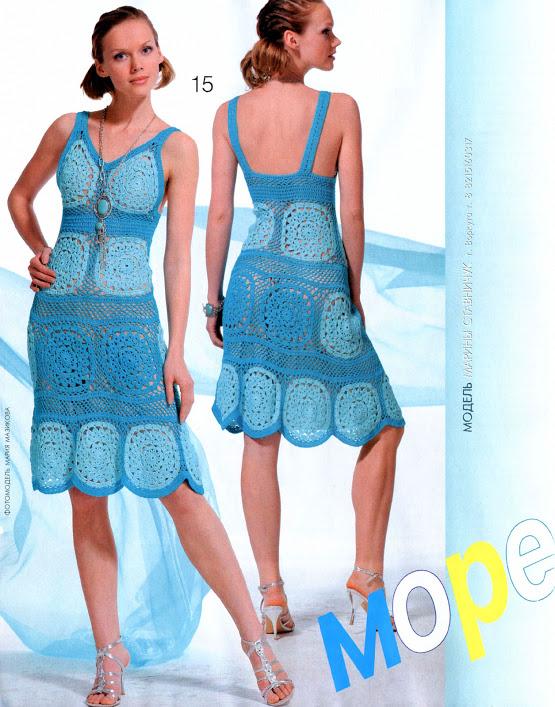 motifli turkuaz mavi örgü bayan elbise modeli