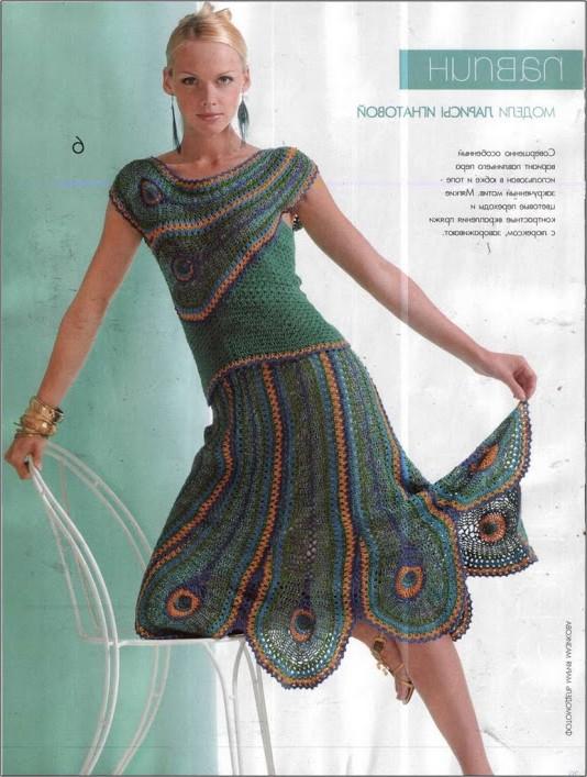 parçalı örgü elbise modeli
