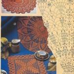 renkli öpler ile örülen yuvarlak masa örtüsü modelleri