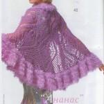 sakallı ip ile süslenen örgü bayan şal modelleri