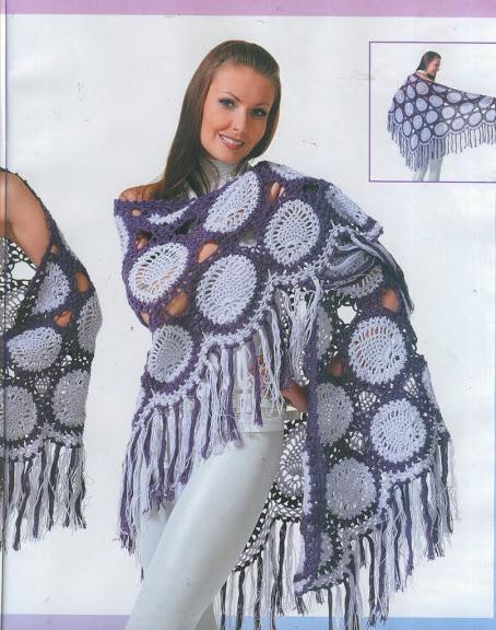 siyah beyaz şık örgü bayan şal modelleri