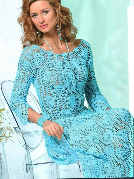 yağmur damlası desenli şık bayan örgü elbise modeli