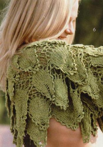 yaprak desenli katlı dekoltelı bolero modeli