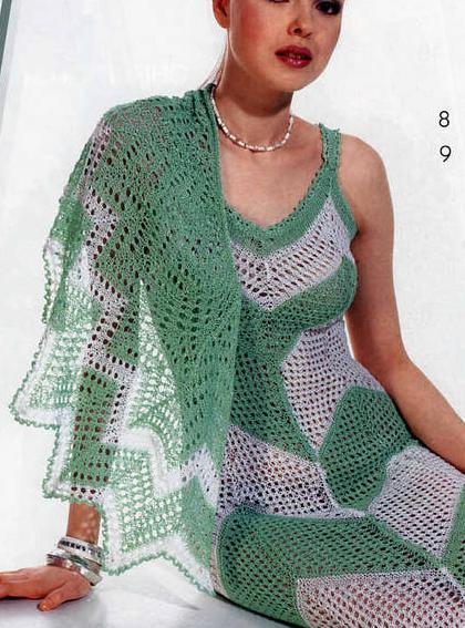 yeşil beyaz renkli ince askılı elbise modeli