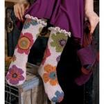 çiçek desenli örgü çorap