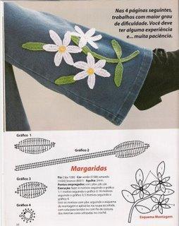 çiçek motifleri ile pantolon süsleme modeli