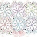 çiçek motifli dikdörtgen örgü şal modelleri açıklamalı şeması