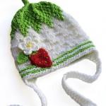 çilek işlemeli bebek şapkası