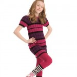 çizgili yarım kollu örgü çocuk elbisesi