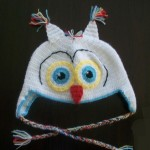 örgü beyaz kulaklı baykuş şapka