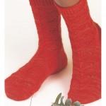 örgü kırmızı ajurlı soket çorap