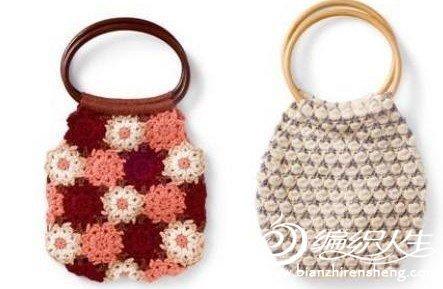 ahşap kulplu örgü çanta modelleri