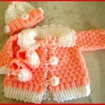 bebek örgü turuncu beyaz bebek hırka patik ve şapka