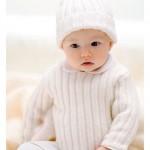bebek krem kazak ve beresi