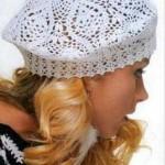 beyaz renkli desenli dantel şapk modeli