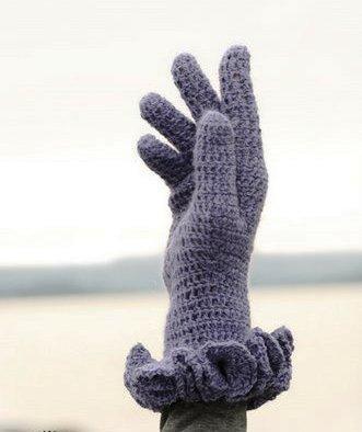 bilekleri fırfırlı örgü bayan eldiven modelleri