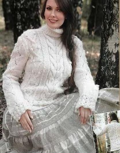 boğazlı beyaz renkli kazak modeli