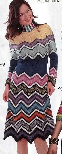 boğazlı uzun kollu kışlık renkli elbise modeli