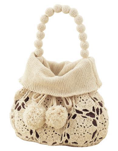 boncuk örme kulplu motifli yazlık örgü çanta modeli