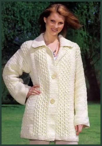 ceket yakalı desenli örgü hırka modeli