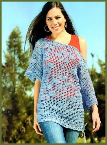 düşük omuzlu çiçek desenli tunik bluz modeli