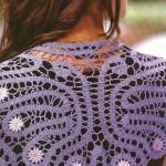 dantel hazır çiçek işlemeli lila renkli şal modelleri