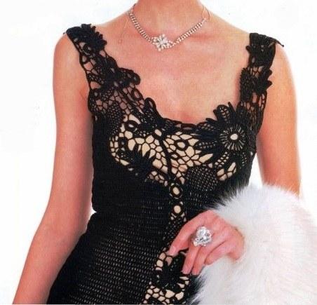 dantel siyah tığ işi elbise modeli