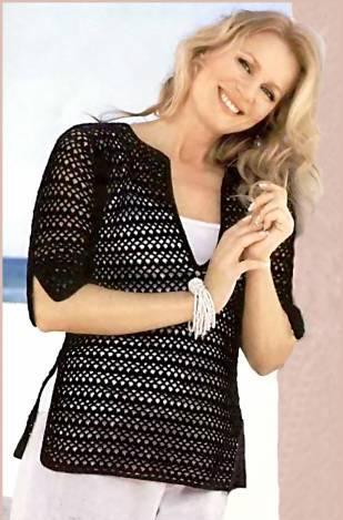 derin v yakalı yarım kollu siyah bluz modeli