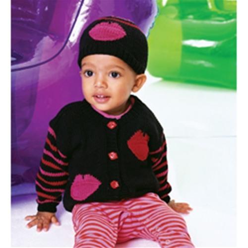 dudak desenli lacivert pembe dudaklı hırka ve şapka modeli