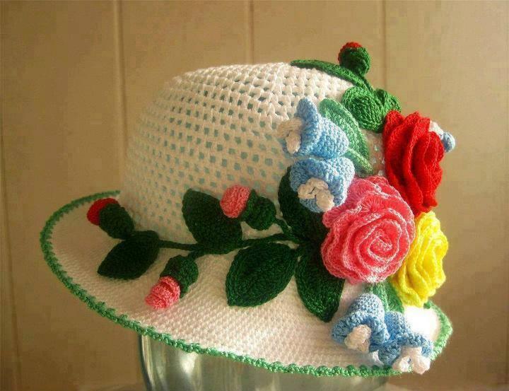 gül detaylı örgü şapka