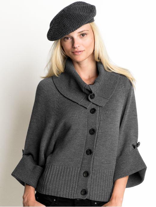 gri renkli düğmeli düz örgü bayan hırka modeli