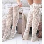 ince ipli diz üstü krem renkli örgü çoraplar