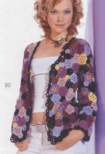 küçük renkli çiçek motifli örgü bayan hırka modeli