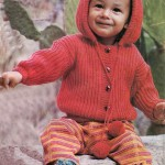 kırmızı renkli kapişonlu hırka modeli