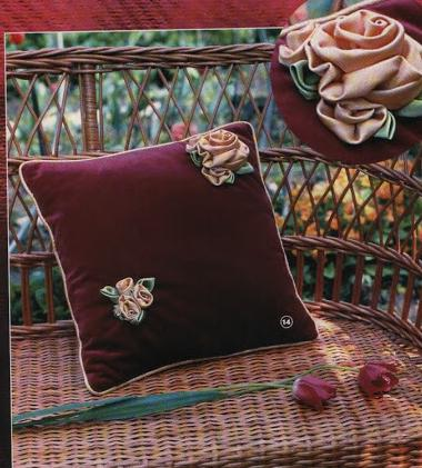 kadife kırlent üzerine çiçek işleme modelleri