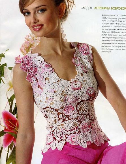 kelebek ve çiçek desenli örgü bayan bluz modeli