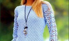 İşlemeli Desenli Şık Bayan Örgü Bluz Modelleri