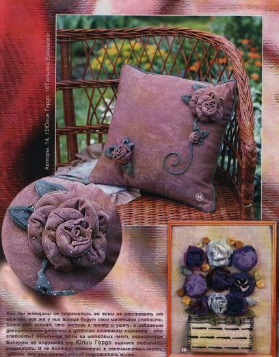 kumaş ile yapılan güller ile kırlent süsleme modelleri