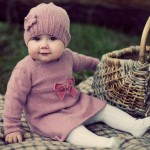 lila bebek elbisesi ve beresi