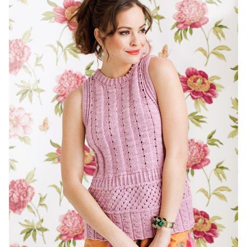 lila desenli kolsuz örgü bluz